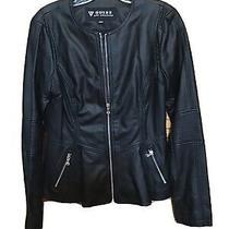Guess Faux Leather Peplum Jacket Black Size Women's Small Photo