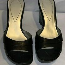 Guess Fenton Women Black Sz 10 Leather Wedge Slipper Style Sandal Photo
