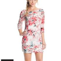 Guess Floral Mini Shift Dress Inbloom 3/4 Sleeve Summer Small Size 2 Photo