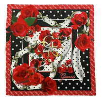 Guess Floral Red Shawl Modal Scarf 34 Inches Made in Italy Photo