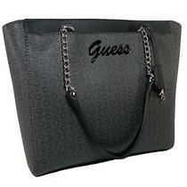 Guess G Logo Tote Purse Shoulder Hand Bag Coal Black Schroeder Chain Strap Nwt Photo