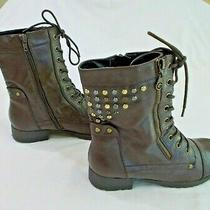 Guess G Studded Brown Lace Up Combat Boots Size 8m Photo