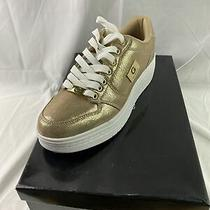 Guess Gbg Los Angeles Rigster Women Sneakers White & Gold Size 9.5 Brand New Photo