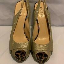 Guess Geliana Women Gold Glitter Open Toe Sling Back Pumps Sz 10 Photo