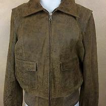 Guess Genuine Brown Leather Bomber Jacket Biker Vintage Inspired Distressed  L   Photo
