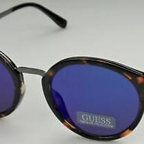 Guess Gf0305 53x Ladies Tortoise Frame Blue Mirror Lens Designer Sunglasses New Photo