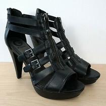 Guess Gghuiza Black Strappy Silver Buckle Sandal High Heels Shoes Size 9.5 M Photo
