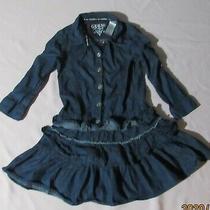 Guess Girl Sz 7/8  Denim Dress Ruffle Cotton Lightweight Blue Jean Ruffles Photo