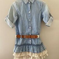 Guess Girls Denim Dress Size 4 Ruffle Lace  Photo
