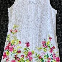 Guess Girls Lace Dress Size 6x White W/flowers Photo