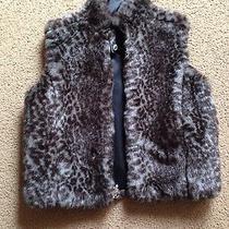 Guess Girls Leopard Faux Fur Reversible Vest Size 4 5 6 Photo