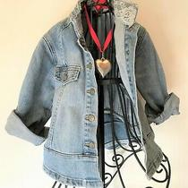 Guess Girls Stretch Denim Jacket Size 24 Months Chest 64/25 Lace Rhinestones Photo