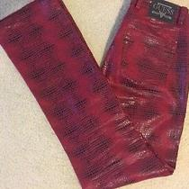 Guess Glamour Red Black Print Jean Pant 29 30 Marciano Dress Jacket Top Photo