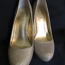 Guess Gold Glitter Heels Shoes Womens 7.5 Photo
