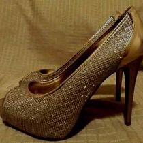 Guess Gold Glitter Sparkle Peep Toe Prom Wedding Formal Shoes Size 8 M - New  Photo