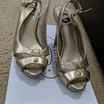 Guess Gold Sandals Heels Shoes Photo