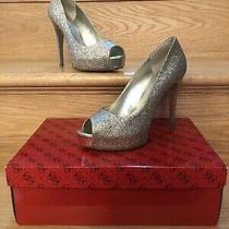 Guess Gold Sparkle Peep Toe Pumps High Heels 6 M Wgpatches7 Photo