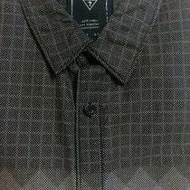 Guess Gray Check/chest Panel L/s 100% Cotton Button Front Shirt Slim Fit Xl Euc Photo