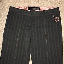 Guess Gray & Pink Satin Pin Stripe Seamed Women's Pants 27 Photo