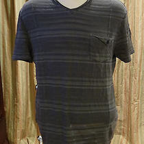 Guess Gray Striped v-Neck Shirt Large Photo