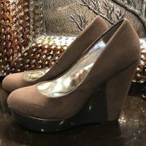 Guess Gray Tan Faux Suede Wedges Photo