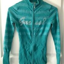 Guess Green Full Zip Fitted Sweater Size Xs Photo