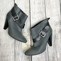 Guess Grey Leather Carolyn Ankle Boots With Black Straps and Silver Buckles Sz 8 Photo