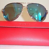 Guess Gu7404 28x Shiny Rose Gold Blue New Womens Mirror Aviator Sunglasses Photo