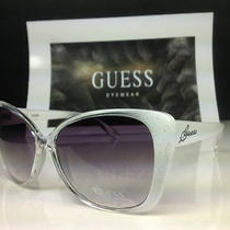 Guess Guf 203 Wht-35 - Women's White Glitter Frame Cat Eye Sunglasses -