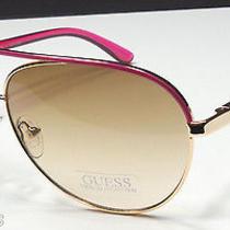 Guess Guf 224 Ro-62a Women's Rose Gold Metal Frame Aviator Sunglasses