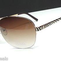 Guess Guf219 Gld-34 Women's Gold/brown Metal Frame Designer Sunglasses -