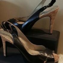Guess Gwshanda Brown Peep Toe Cork 4 1/2 High Heels Very Chic Women's - Size 10 Photo