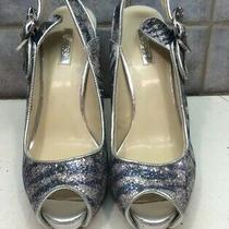 Guess Haileeya Womens Size 9 Blue & Silver Slingback Open Toe  Platform  Shoes Photo