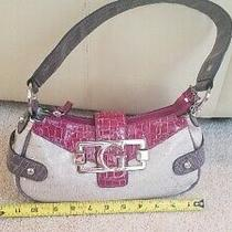 Guess Handbag Purse Faux Leather Dark Pink and Creme Never Used Photo