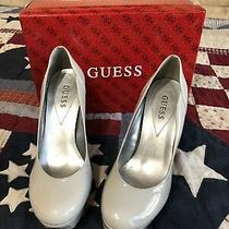 Guess Heels Size 9.5m Silver Gray Platform Round Toe Platform Pumps Shoes Womens Photo