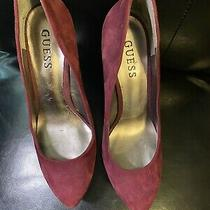 Guess Heels Suede Leather Burgundy Pump Sz 6.5 Photo