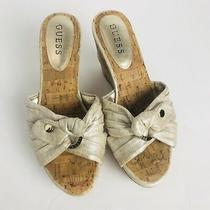 Guess Heels Sz 6.5m Cork Wedge Bow With Silver Embellishments Photo