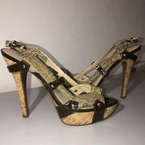 Guess Heels Womens 7.5 Ankle Strap Open Toe Cork Heel Guess G Design  Photo