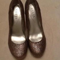 Guess High Heel Close Toe Pump Sparkel W/silver Heal Size 6 1/2 Photo