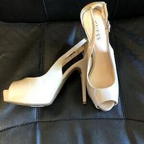 Guess High Heels Shoes Size 7.5 Gwhondo3 Beige Peep Toe Pumps Spike Photo