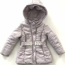 Guess Hooded Puffy Jacket Girls Sz 4 Silver Gray Full Zip and Snap Belted Studs Photo