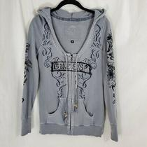 Guess Hooded Sweatshirt Zip Floral Sequin Grey Hoodie Black Size Medium Photo