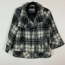 Guess Ivory Black Plaid Moto Pea Coat Blazer Jacket Woll Blend Urban Trend 4 Photo