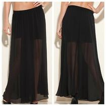 Guess Jasmine Skirt Maxi Black Textured Pull on Elastic Waist Sheer Slit Size S Photo