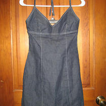 Guess Jean Denim Summer Sun Halter Dress Size 3 Dark Wash Very Cute Look Photo