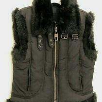 Guess Jean Girls Fur Trimmed Zipper Front Vest Size 5/6 Photo