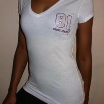 Guess Jeans 81 Logo Womens Cute & Sexy Blouse White Top Studs T Shirt Sz Xs Nwt Photo