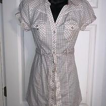 Guess Jeans Beige Plaid Summer Mini Dress Western Snaps Studs Size Xs Belted Photo