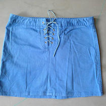 Guess Jeans Blue Cotton Spandex Skirt Tie Up in Front Euc Mini Size 28 Photo