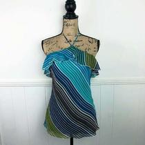 Guess Jeans Blue Green Stripe Halter Silk Top Women Size Medium Msrp 54.00 Nwt  Photo